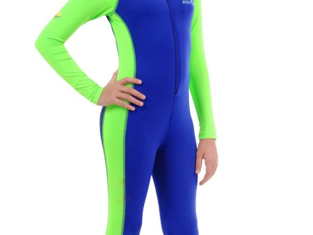 Girls Full Body Swimsuit UV Protective Blue Lime