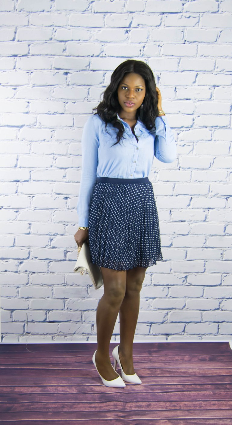 polkadot skirt-chambray shirt