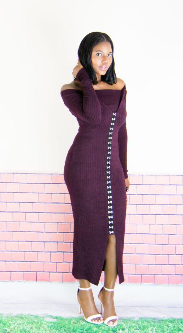 dark plum midi dress