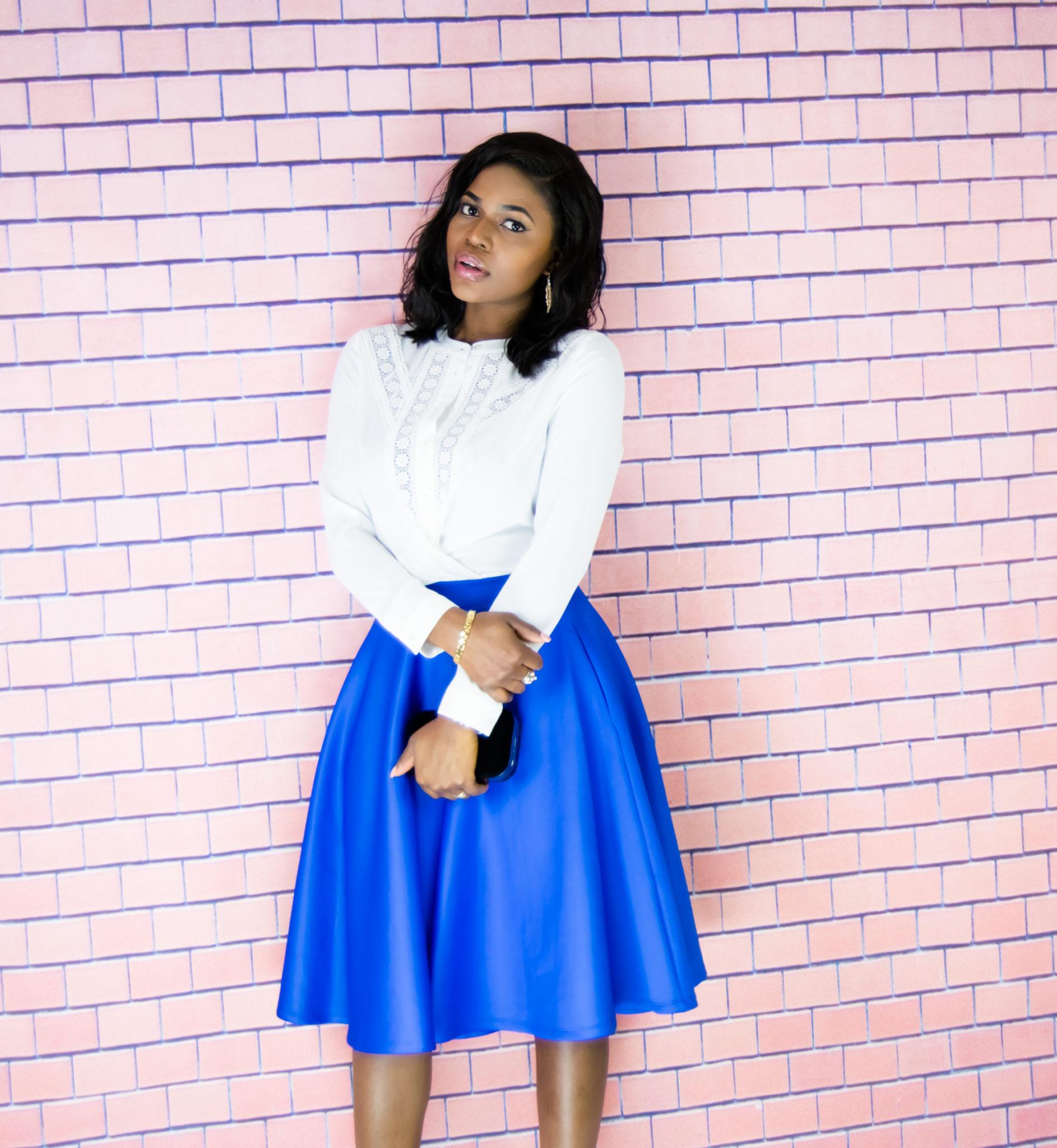 Full circle midi skirt   Victorian lace blouse - WishfulElegance