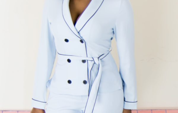 blue women suit