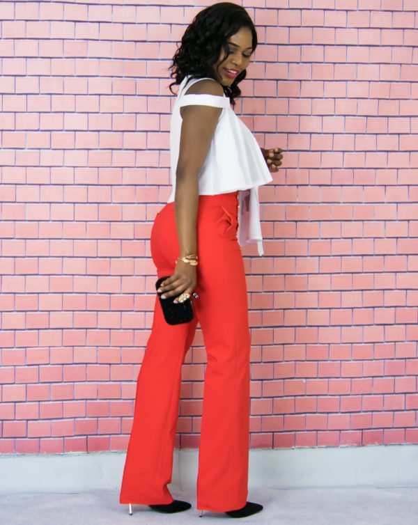 red flared pants outfit