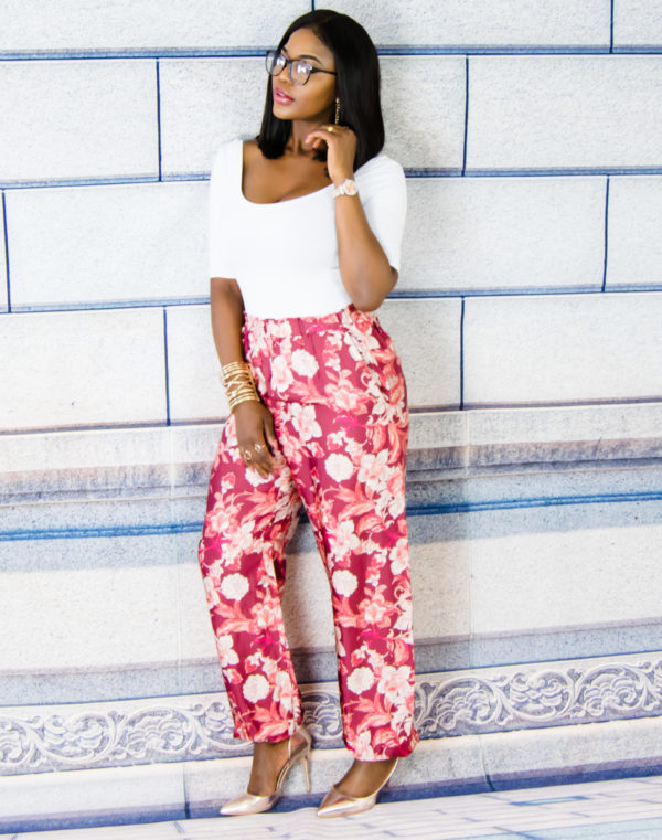 white top and floral pants outfit