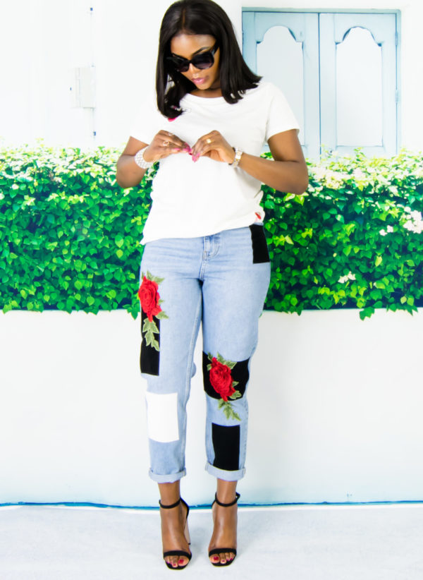 white t-shirt on jeans outfit