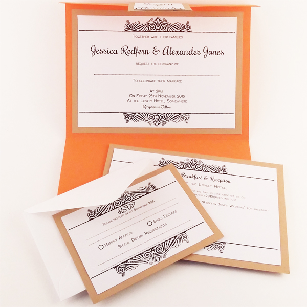 Autumn pocketfold wedding invitations now available from our online shop.