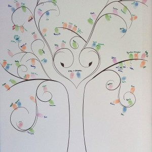 Printed canvas finger print tree