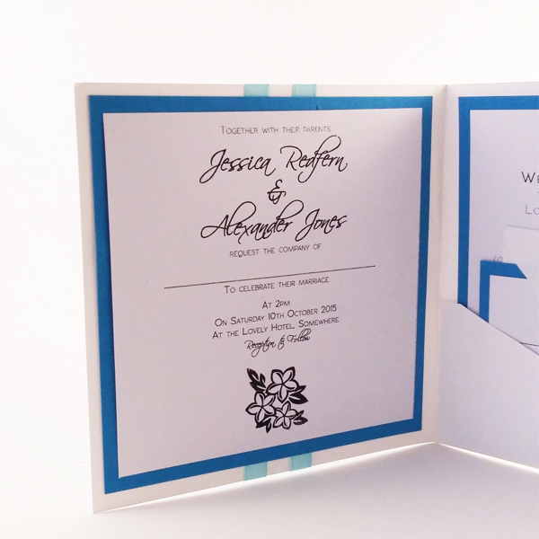 Beach themed pocketfold wedding invitations now available from our online shop.