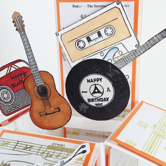 Bespoke pop-up box card. Music themed 16th birthday card.