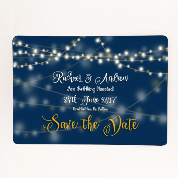 Printed navy blue save the date. Can be bought from our shop as a card or a magnet.