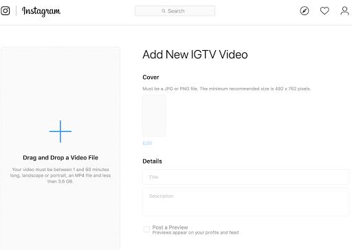 uploading a video on IGTV desktop version Twin Front