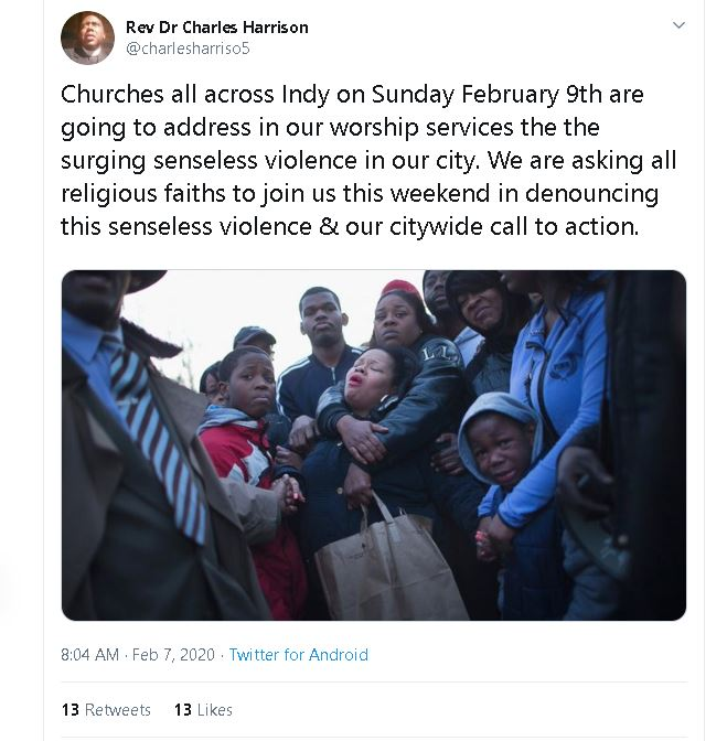Reverand Dr. Charles Harrison makes tweet to end gun violence Friday morning