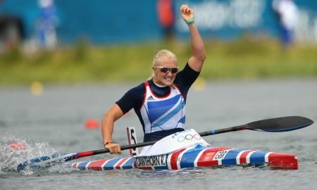 Rachel Cawthorn of Great Britain celebrates during the Women's Kayak Single (K1) 500m Sprint Semi Finals on Day 11 of the London 2012 Olympic Games at Eton Dorney on August 7, 2012 in Windsor, England. (Photo by Quinn Rooney/Getty Images)