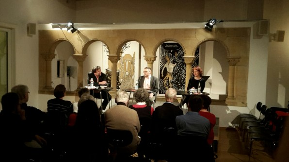 v.l.n.r.: Thomas Geiger, György Dragomán, Nina West.