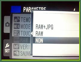 menu apn raw jpeg