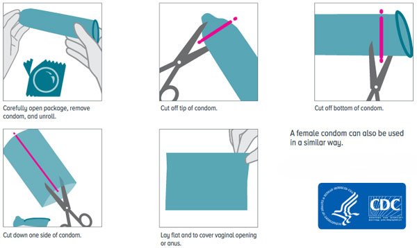 how to turn a condom into a dental dam for vaginal use