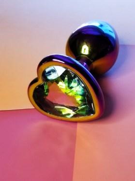 rainbow gemstone heart anal plug crystal