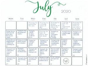 July 2020 prayer calendar