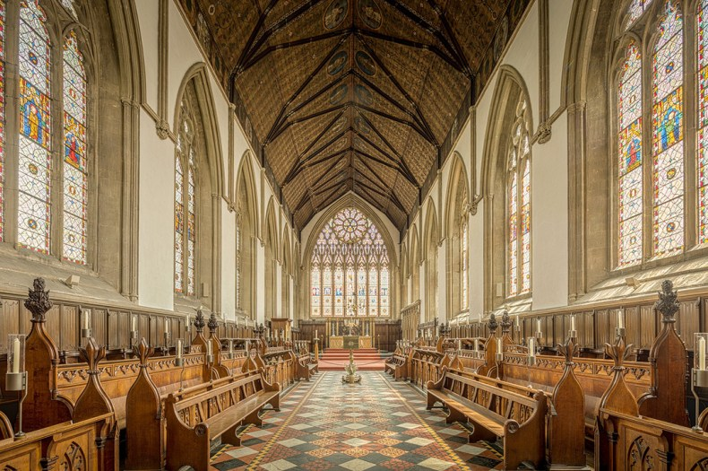 Church interior at University of Oxford