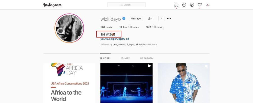 Wizkid Ready To Change Stage Name? Afrobeats Star Adopts New Instagram Name, 'Big Wiz'