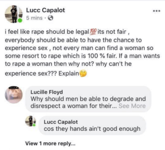 """I feel like rape should be legal"" - Man explains and gets the support of other men"