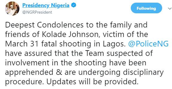 #EndSARS: Presidency reacts to the killing of football fan, Kolade Johnson, by SARS officers