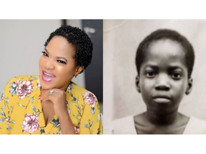 Toyin Abraham shocks many as she shares a throwback picture from primary school