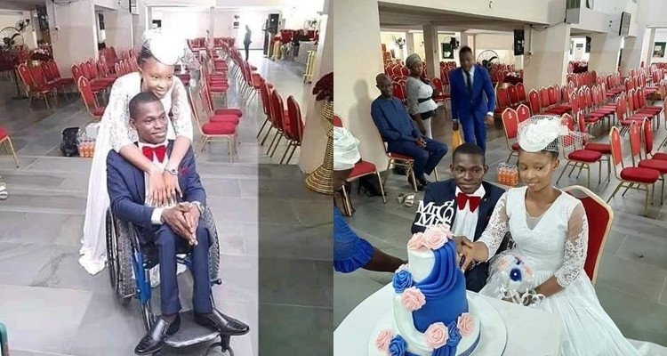 """True love"" Twitter users react as woman marries a man in a wheelchair in Lagos"