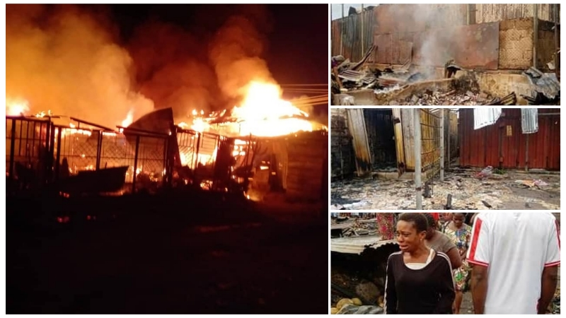 VIDEO: Fire guts Marian market in Calabar