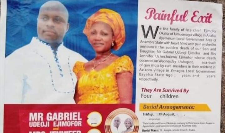 Rampaging suspected cultists kill husband and pregnant wife in Bayelsa church