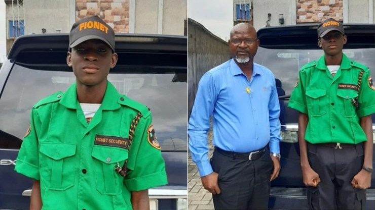 Mixed reaction as Nigerian father employs son as security man in his company