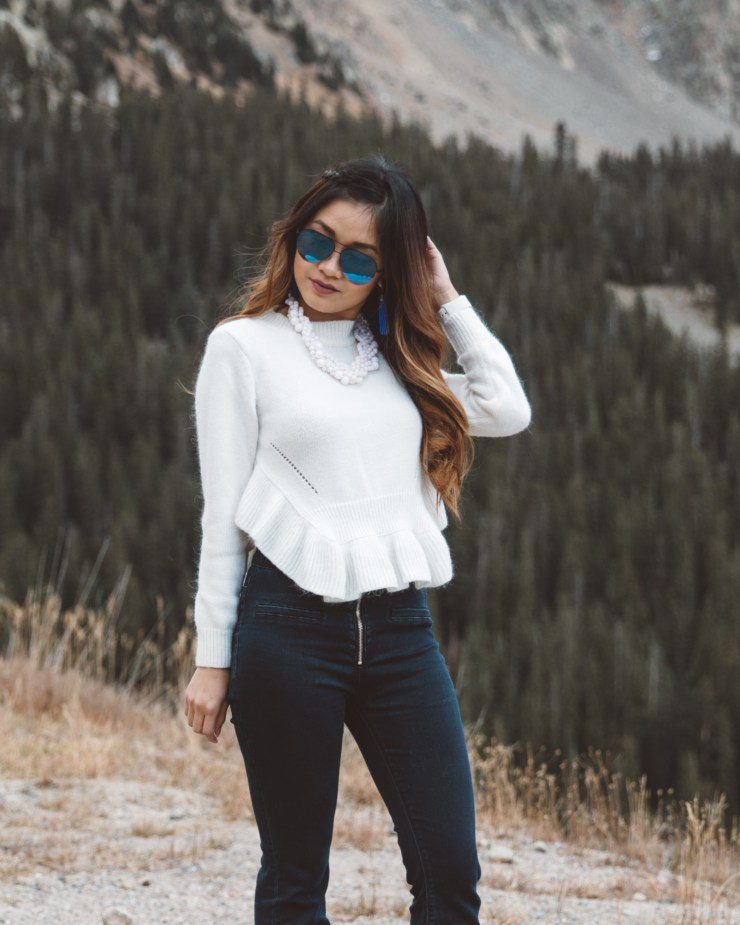 Ruffled Sweater in the mountains