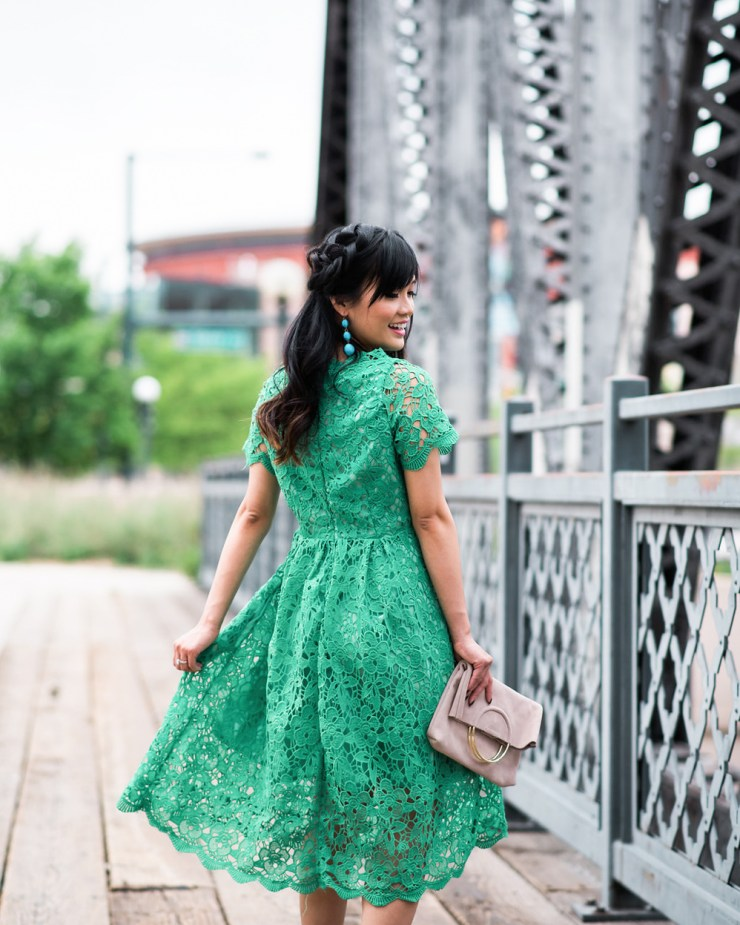 Chicwish Green lace dress