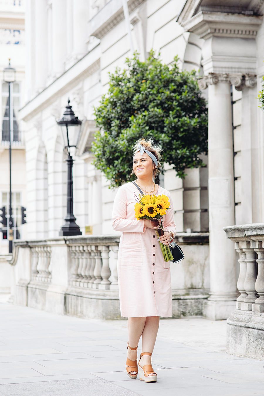 pink dress and sunflowers