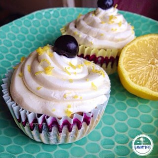 "Lemon Blueberry Cupcakes with ""Cream Cheese"" Frosting"