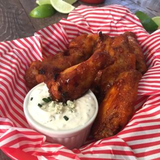 Sweet and Spicy Sriracha Wings with Greek Yogurt Blue Cheese Dip