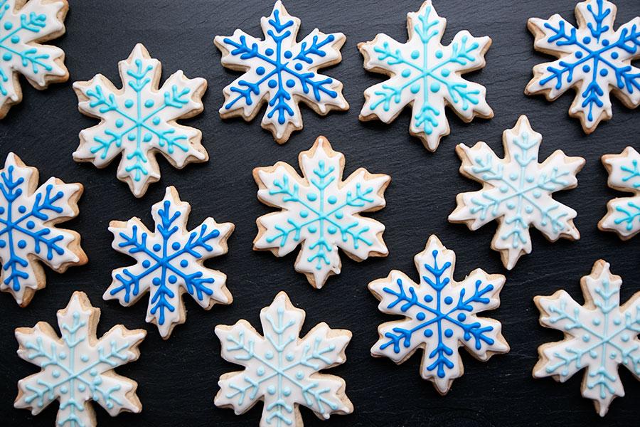 Snowflake Cookies With Sprinkles On Top