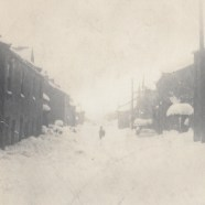 The great storm of 1933. View of the main street from the shop.