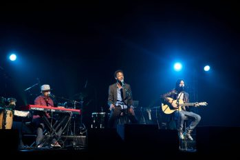 Musical guest K'Naan performs with his band