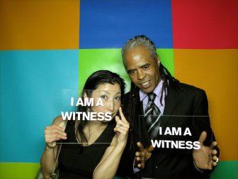 Hassan Hakmoun and Chikako Lwahori in the WITNESS photo booth