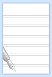 Lines page with pen motif on blue background with shadow