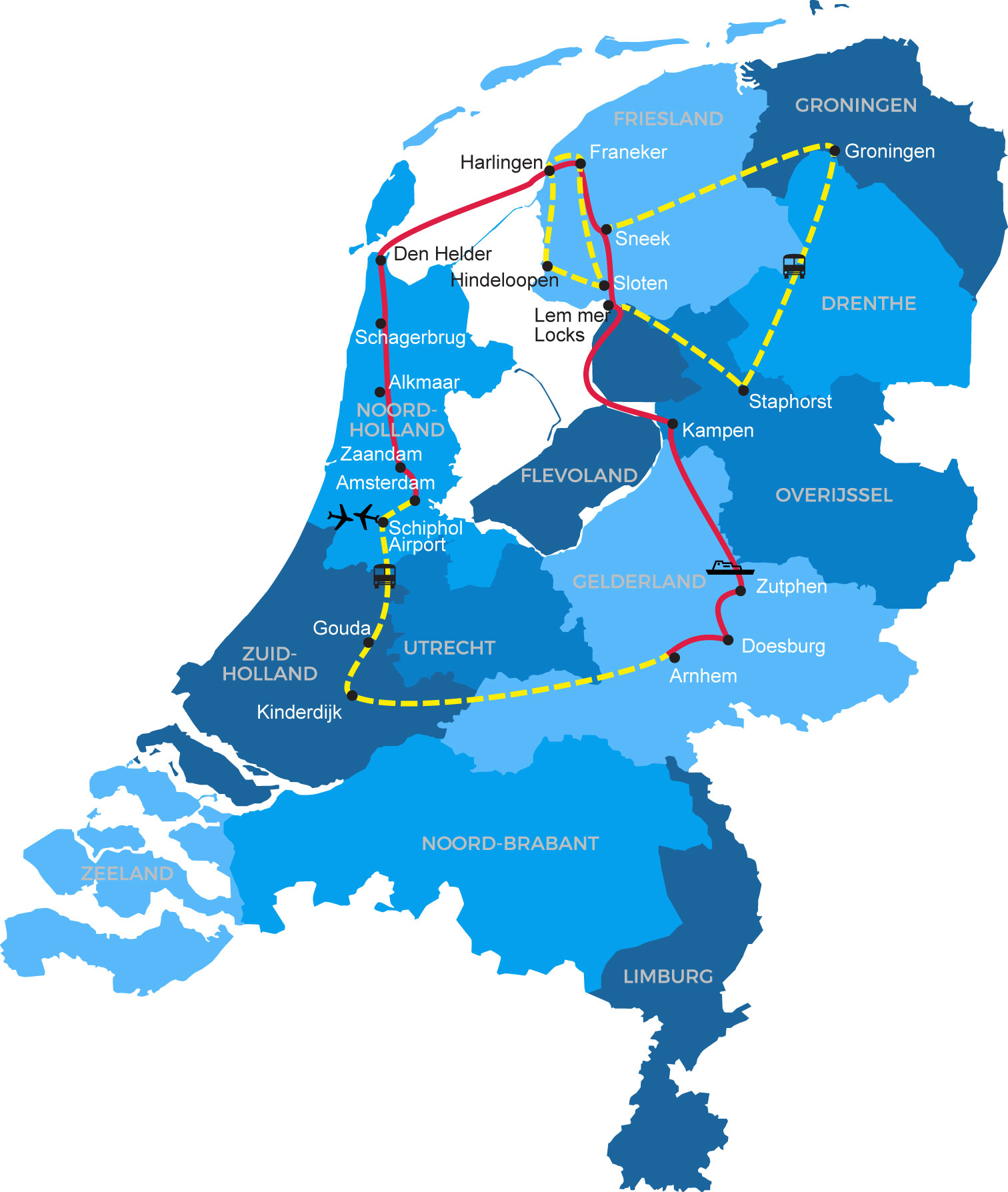 Netherlands Waterway Cruise Map</div>