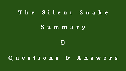 The Silent Snake Summary & Questions & Answers