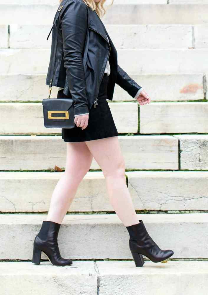 Mini Skirt with Heeled Booties