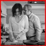 husband wife in kitchen