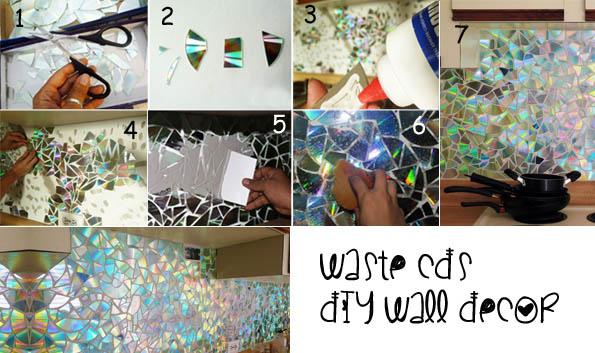 DIY wall decoration using waste CDs