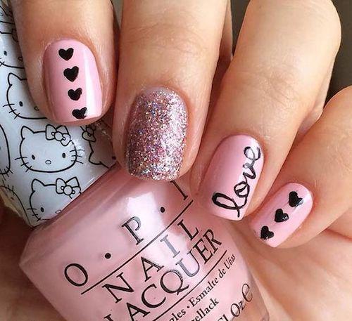 Love Lettering nail design