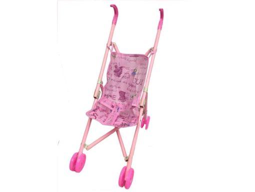 Carriola plegable de juguete para muñecas color rosa