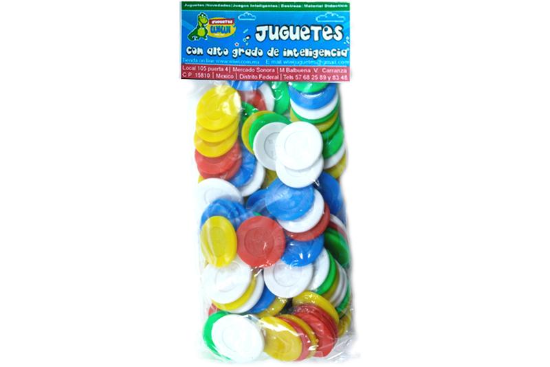 Fichas de 2.8 cm plástico 100 piezas-Wiwi Juegos mayoreo