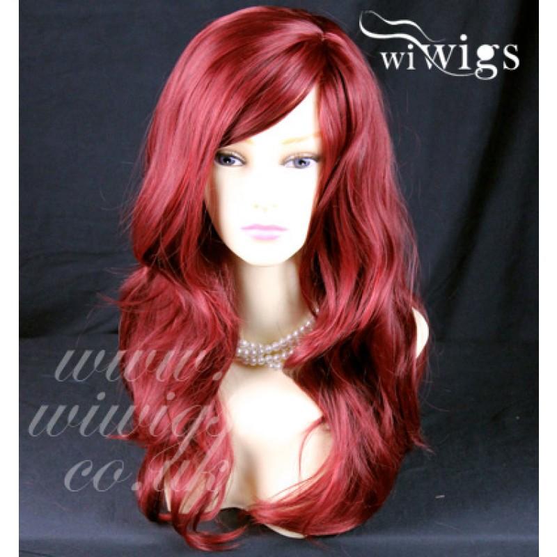 Wiwigs Wonderful Wavy Long Burgundy Mix Red Curly Heat