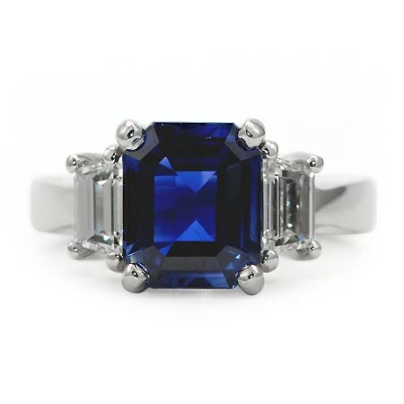 Emerald Cut Blue Sapphire Ring Gemstone Jewelry Wixon
